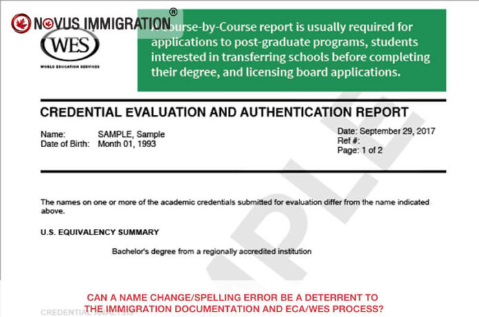 Can a Name Change/spelling Error Be a Deterrent to the Immigration Documentation and Eca/wes Process?