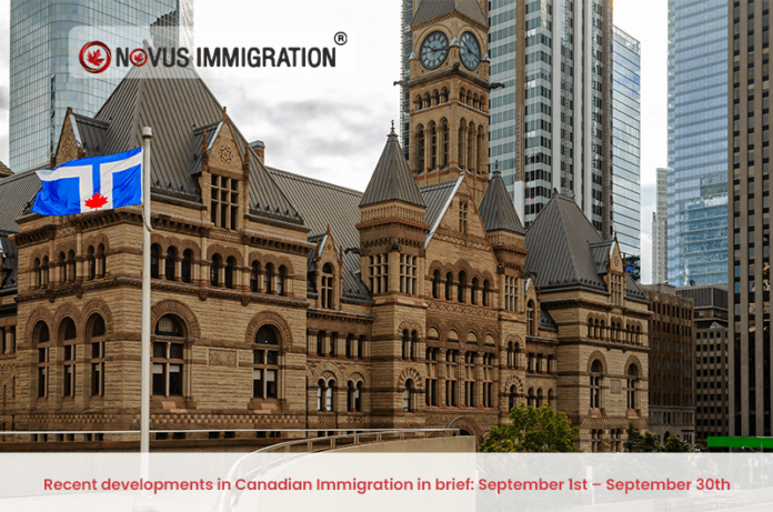 Recent developments in Canadian Immigration in brief: September 1st – September 30th